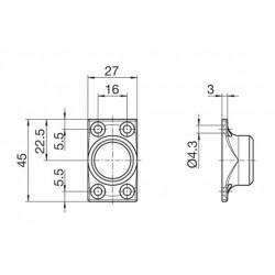 Sortie de caisson à 45° NICKELÉ -D13-Carré de 8 mm
