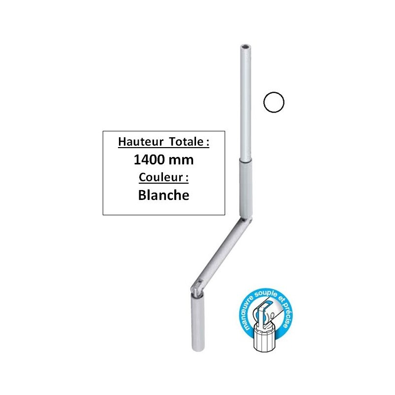 Manivelle de volet roulant Blanche D13 Longueur totale 1,4 m